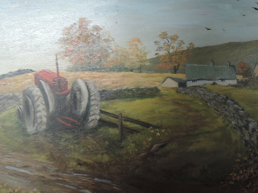 Lot 329 - An oil painting on board, M Summerhay, tractor and cottage, signed, framed, 33 x 60cm