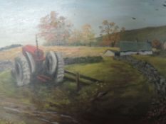 An oil painting on board, M Summerhay, tractor and cottage, signed, framed, 33 x 60cm