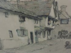Three prints, after Cecil Aldin, Old English Inns series, The Spread Eagle, Midhurst, signed, framed
