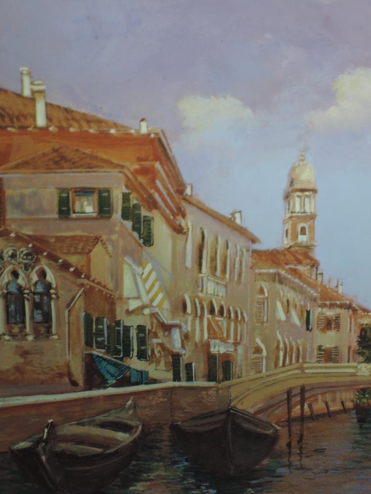 Lot 325 - An oil painting on board, Pal Li Sa D, Venice, indistinctly signed, framed, 23 x 16cm