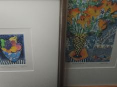 Two Ltd Ed prints, Spring Freesias, indistinctly signed, numbered 31/125, framed and glazed, 25 x