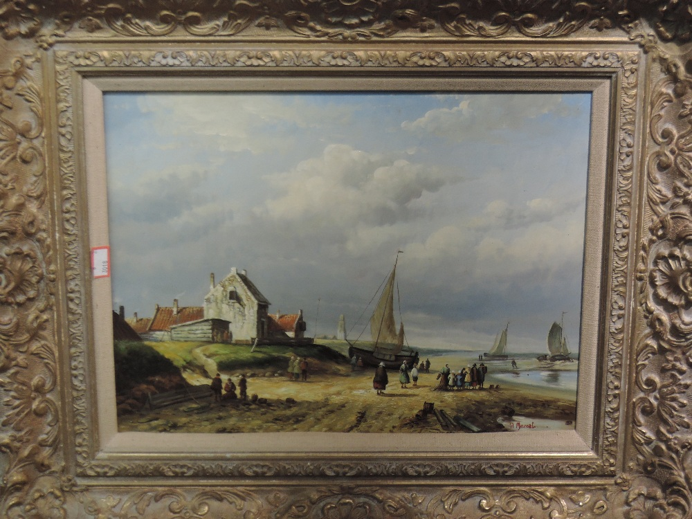 Lot 323 - A pair of oil paintings on board, H Marcel, coastal landscapes, signed, framed and glazed, each 29 x