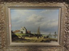 A pair of oil paintings on board, H Marcel, coastal landscapes, signed, framed and glazed, each 29 x