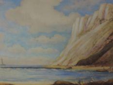 A coloured aquatint, Robert Herdman Smith, Beachy Head, signed, framed and glazed, 24 x 28cm