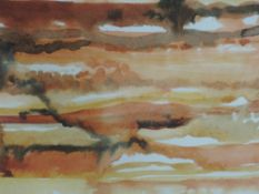 A watercolour, Nancy Tingey, Terraces Tinoi, signed and dated (20)01, framed and glazed, 35 x 24cm