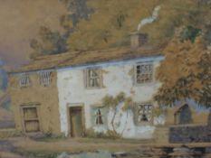 A watercolour, J West, riverside cottages, signed, framed and glazed, 28 x 30cm