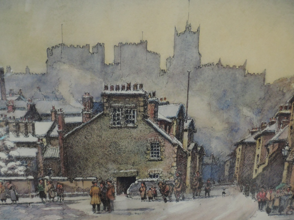 Lot 337 - A watercolour, F Hodgson, winter townscape, Lancaster, signed, framed and glazed, 25 x 34cm