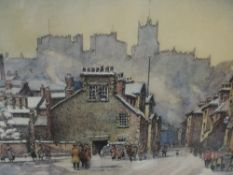 A watercolour, F Hodgson, winter townscape, Lancaster, signed, framed and glazed, 25 x 34cm