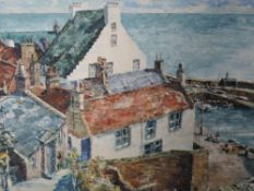 An oil painting on board, A M Starkie, coastal village, signed and dated, (19)85, framed, 28 x 34cm