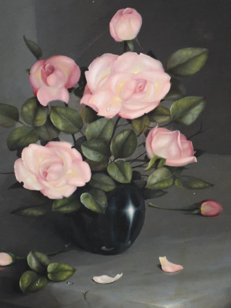Lot 376 - An oil painting, G L Reekie, Pink Roses, signed and dated 1969, attributed verso, framed, 63 x 44cm