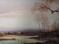 A watercolour, Norton Willis, cattle at pond, signed, framed and glazed, 25 x 50cm