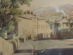 A watercolour, Geoffrey H Pooley, Kirkby Lonsdale, signed, framed and glazed, 25 x 36cm