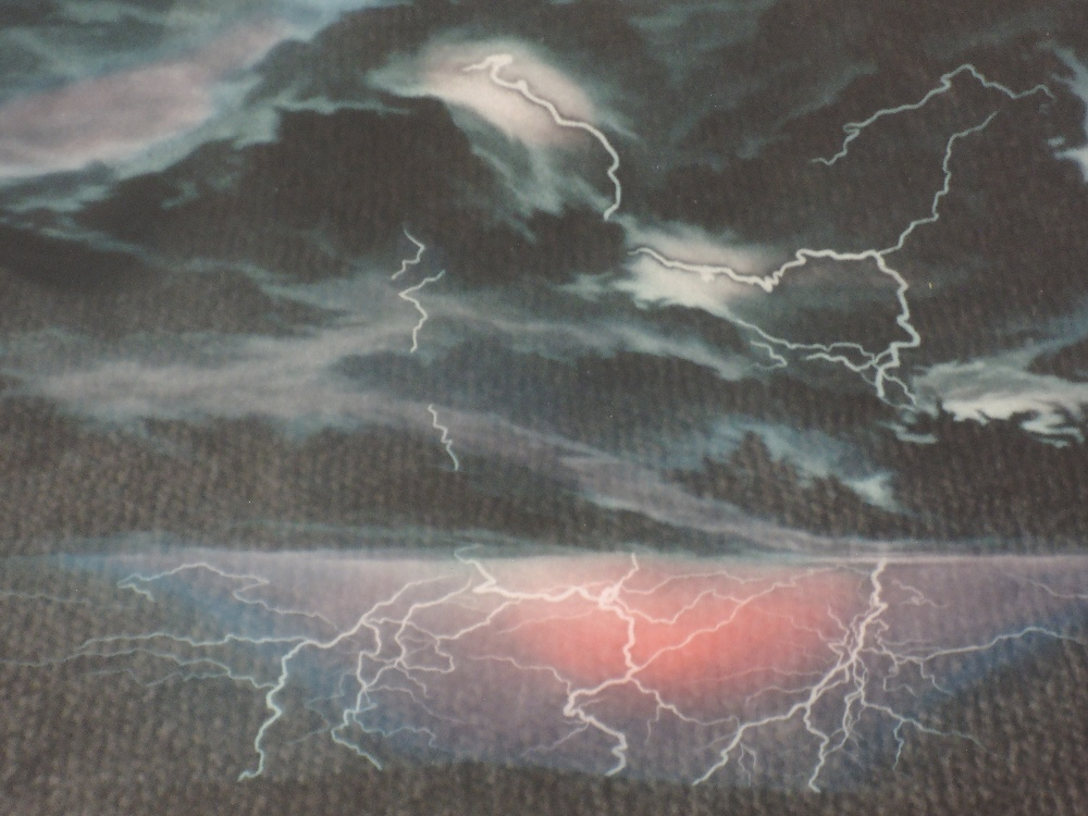 Lot 350 - A Ltd Ed mezzotint, after Susan Jameson, Electric Storm, numbered 104/150, signed, framed and