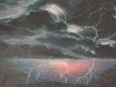 A Ltd Ed mezzotint, after Susan Jameson, Electric Storm, numbered 104/150, signed, framed and