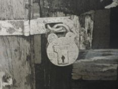 A Ltd Ed etching, after Cheffeins, padlock, numbered 2/78, indistinctly signed, framed and glazed,
