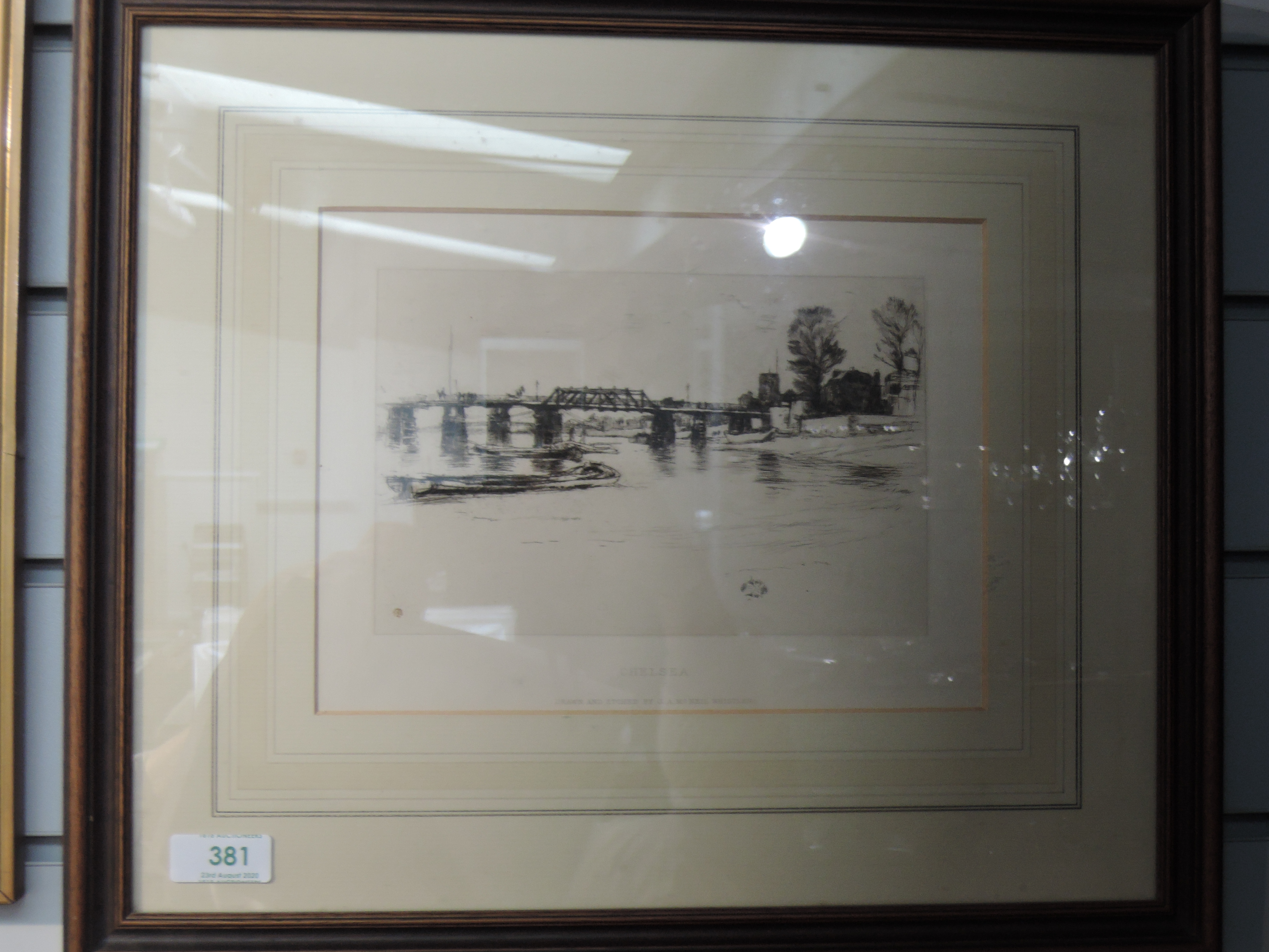 Lot 381 - An etching after J A McNeil Whistler, Chelsea, framed and glazed, 18 x 24cm