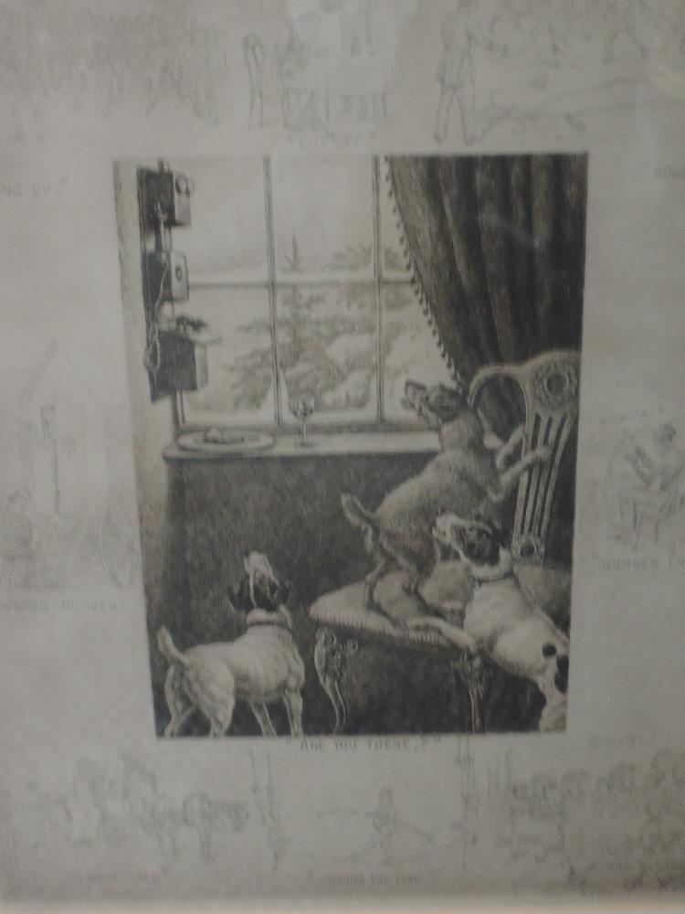 Lot 336 - An engraving after Frank Paton, Are you there, humorous dog interest, signed, framed and glazed,