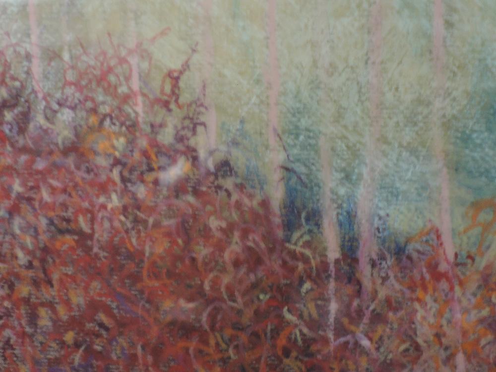 Lot 353 - A Pastel sketch, Ben Holgate, October morning, Silverdale, signed, framed and glazed, 40 x 54cm