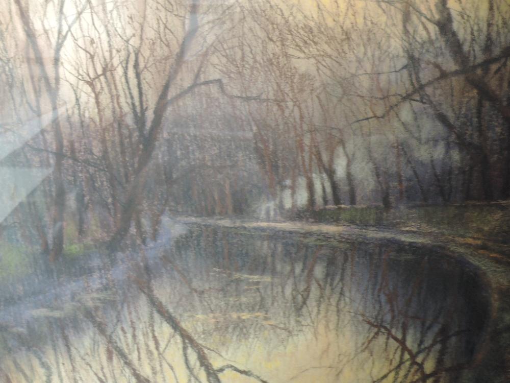 Lot 351 - A pastel sketch, Holgate, autumnal canal scene, signed, framed and glazed, 43 x 52cm