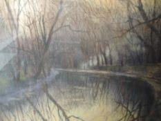A pastel sketch, Holgate, autumnal canal scene, signed, framed and glazed, 43 x 52cm