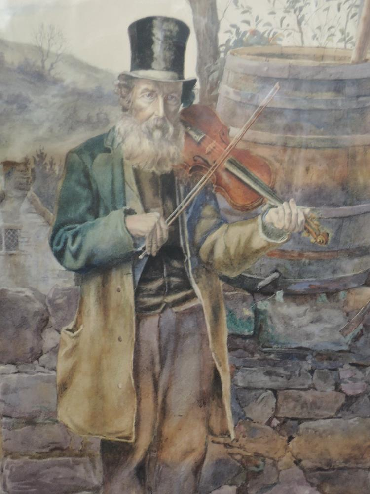 Lot 377 - A watercolour, elderly gent playing fiddle, unsigned, framed and glazed, 66 x 48cm
