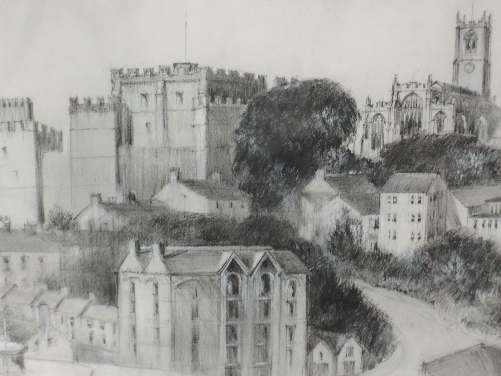 Lot 345 - A pencil sketch, T Wearing Pennington, Lancaster townscape, signed and dated 1989, framed and