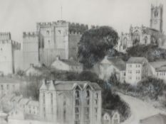 A pencil sketch, T Wearing Pennington, Lancaster townscape, signed and dated 1989, framed and