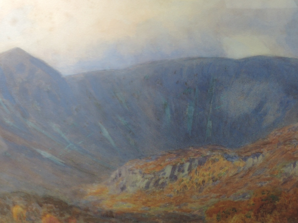 Lot 332 - A watercolour, W Smallwood Winder, mountains and valley, signed and dated 1908, framed and glazed,