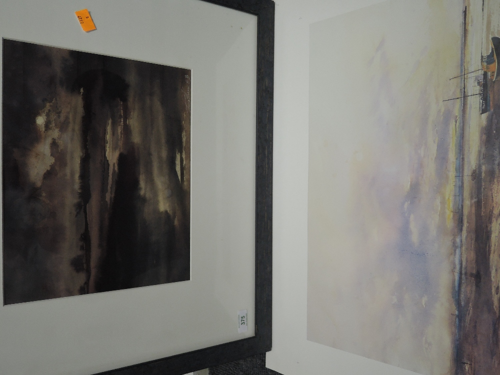 Lot 375 - A watercolour, Tiana Marie, atmospheric lake scene, signed and dated (19)83, framed and glazed, 24 x
