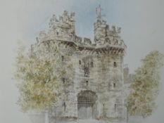 A watercolour, Martin Woodroffe, Lancaster castle, signed, attributed verso, framed and glazed, 21 x