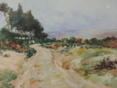 A pair of watercolours. Ray Bain, country lanes, signed, framed and glazed, each 22x 28cm