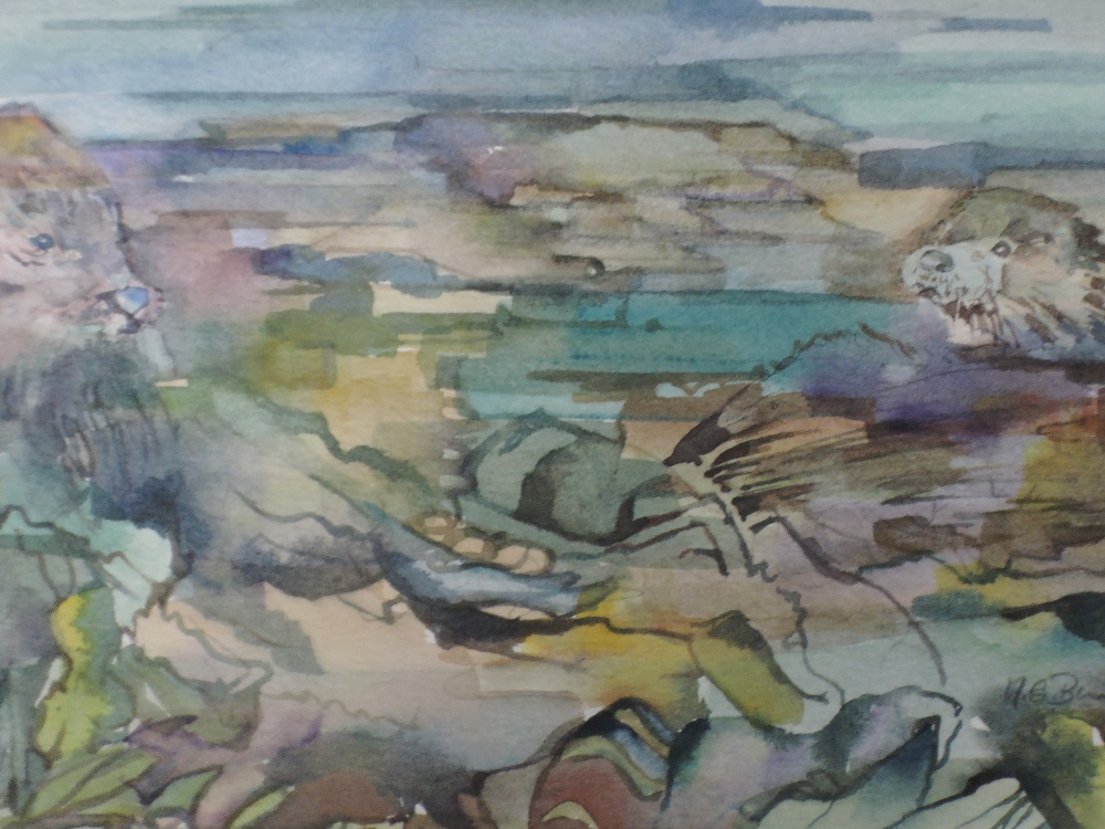 Lot 365 - A watercolour, Morag Burton, Seals on the rocks, signed, framed and glazed, 17 x 29cm
