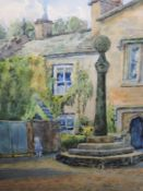 A watercolour, A Wolfenden, church yard, signed, framed and glazed, 23 x 31cm, and a similar