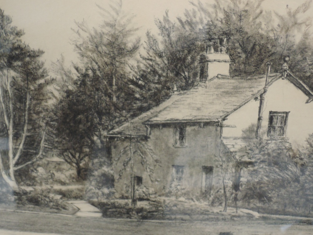 Lot 338 - A pastel sketch, F Hodgson, country cottage, signed, framed and glazed, 24 x 35cm