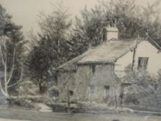 A pastel sketch, F Hodgson, country cottage, signed, framed and glazed, 24 x 35cm