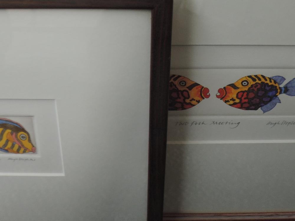 Lot 359 - Two Ltd Ed prints, after Hugh Stephens, Fish, numbered 17/50, signed, framed and glazed, 6 x 7cm,