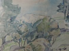 A watercolour, Robin Wallace, Langdale Boulder, Robin Ghyll, signed, 36 x46cm, and verso