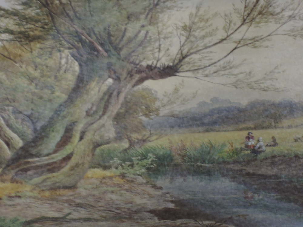 Lot 363 - A watercolour, William Wilde, An afternoon by the river, signed and dated (18)85, framed and glazed,