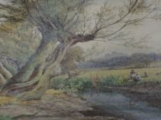 A watercolour, William Wilde, An afternoon by the river, signed and dated (18)85, framed and glazed,