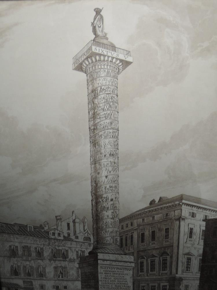Lot 357 - Two sepia prints, attributed to Copley Fielding and D Havell, The Coloumn of Trogen, Rome and The
