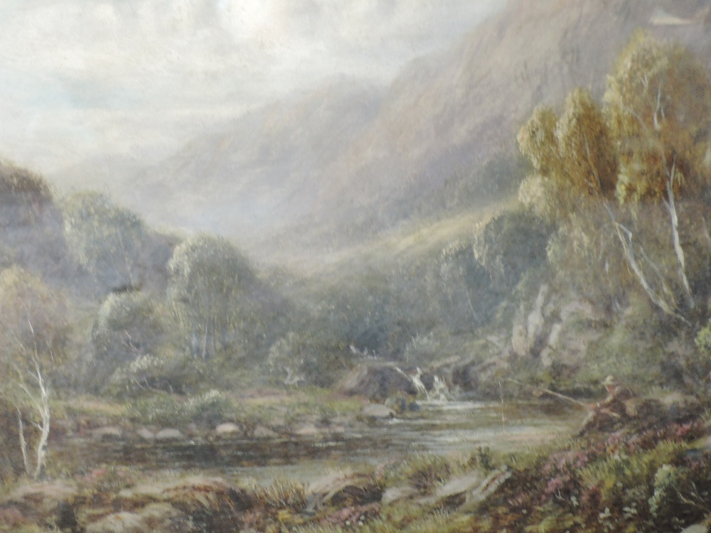 Lot 361 - A pair of oil paintings, R Hammond, Near Dolgelly, mountainous river landscapes, 19th century,