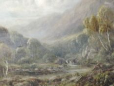 A pair of oil paintings, R Hammond, Near Dolgelly, mountainous river landscapes, 19th century,