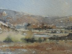 A watercolour, Chris Stephens, The Lune near Melling, signed and dated 1984, framed and glazed, 11 x