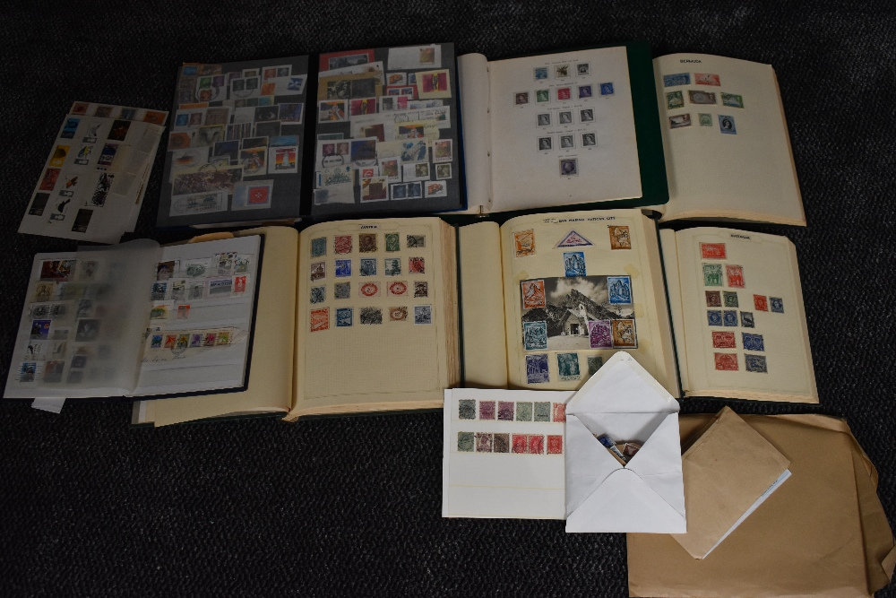 Lot 825 - Seven albums of World Stamps including Commonwealth along with three sheets of GB Stamps