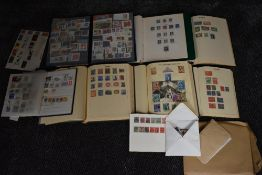 Seven albums of World Stamps including Commonwealth along with three sheets of GB Stamps