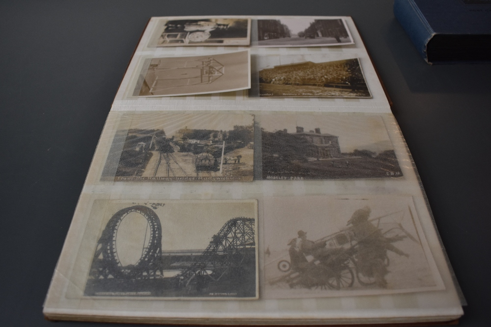 Lot 856 - An Album of early Postcards including Military, Real Photos, Street Scenes etc, approx 60 cards
