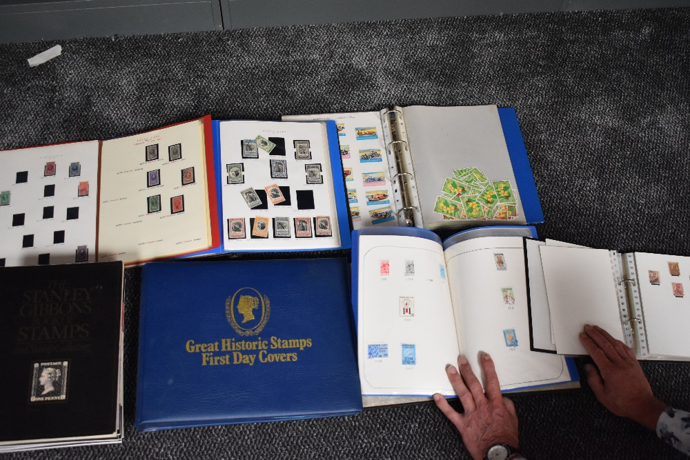 Lot 829 - Six albums of mainly used World Stamps along with an empty Great Historic Stamps First Day Cover