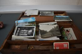 A wooden Writing Slope containing early Postcards, varied subjects, Real Photo's ,Military, two