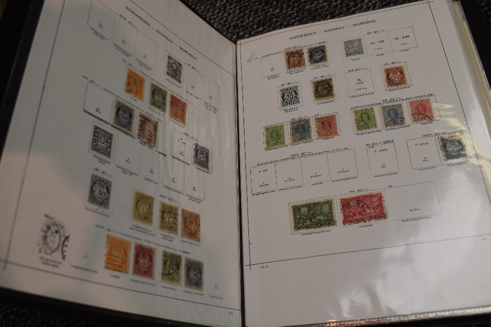 Lot 832 - A collection of mainly used Stamps of Norway, in nine albums