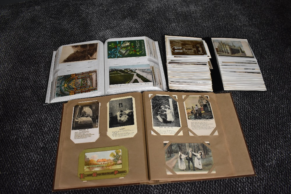 Lot 851 - Three Albums of Vintage Postcards, approx 400 cards